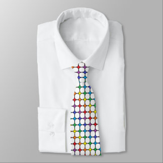 Black Outlined Rainbow 4 Point Stars Tie
