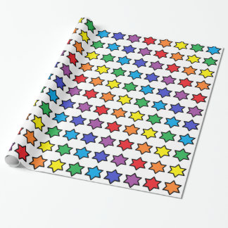 Black Outlined Rainbow 6 Point Stars Wrapping Paper