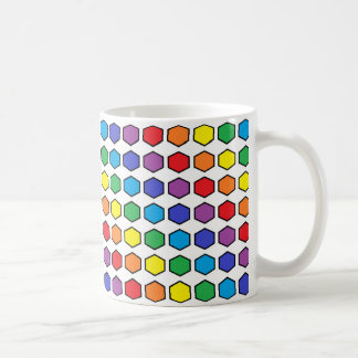 Black Outlined Rainbow Hexagons Coffee Mug