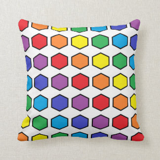 Black Outlined Rainbow Hexagons Cushion