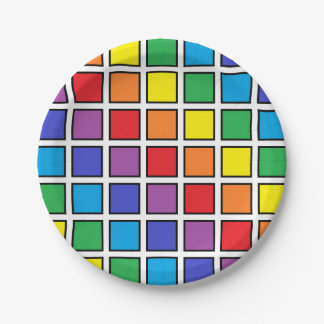 Black Outlined Rainbow Squares Paper Plate