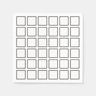 Black Outlined Squares Paper Napkin