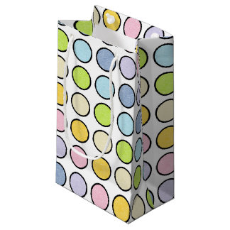 Black Outlined Static Pastel Rainbow Polka Dots Small Gift Bag
