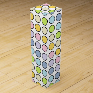 Black Outlined Static Pastel Rainbow Polka Dots Wine Gift Box