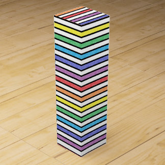 Black Outlined Static Rainbow Stripes Wine Gift Box
