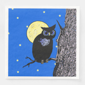 Black Owl Blue eyes in Tree Yellow Moon Stars Paper Napkins