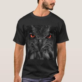 Black owl face with red eyes on men's dark tshirt