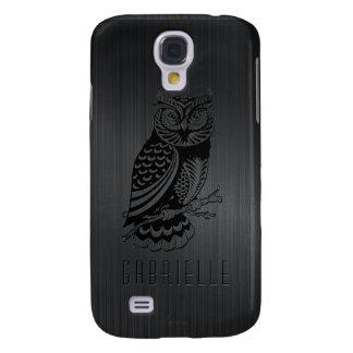 Black Owl Over Metallic Brushed Aluminum-Monogram Samsung Galaxy S4 Case