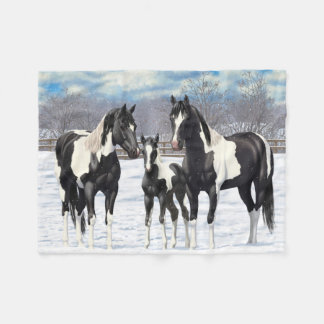 Black Paint Horses In Snow Fleece Blanket