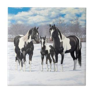 Black Paint Horses In Snow Tile