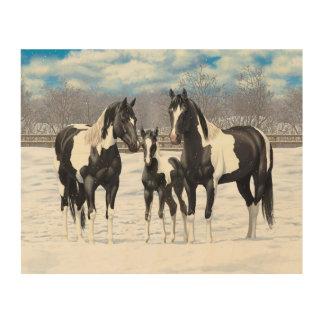 Black Paint Horses In Snow Wood Wall Art