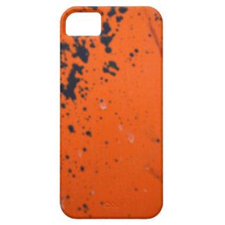 Black paint splatter on orange iPhone 5 cover