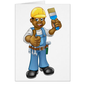Black Painter Decorator Cartoon Character Card