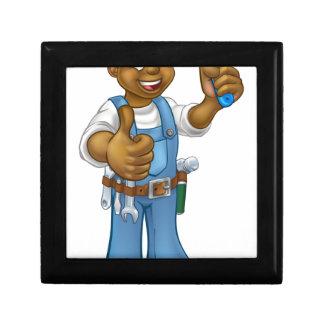 Black Painter Decorator Cartoon Character Gift Box
