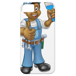 Black Painter Decorator Cartoon Character iPhone 5 Cases