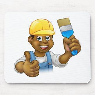 Black Painter Decorator Cartoon Character Mouse Pad