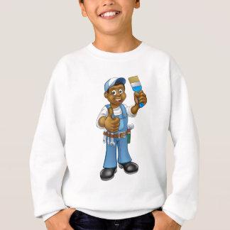 Black Painter Decorator Cartoon Character Sweatshirt