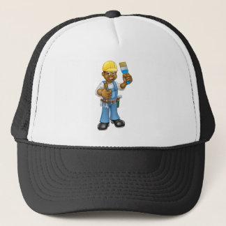 Black Painter Decorator Cartoon Character Trucker Hat
