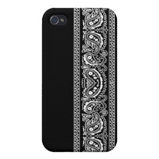 Black Paisley Bandana iPhone 4 Case