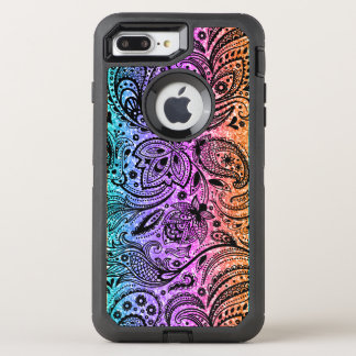 Black Paisley L& Colorful Glitter Texture OtterBox Defender iPhone 8 Plus/7 Plus Case