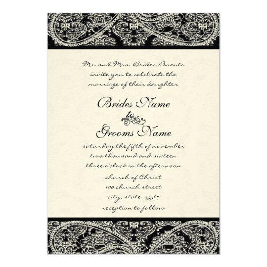 Black Paisley Monogram Damask Wedding Invitation