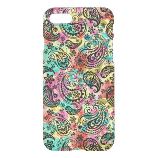 Black Paisley Pattern Over Colorful Background iPhone 8/7 Case