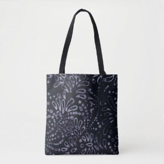 Black Pale Lavendar Batik Trendy Pattern Tote Bag