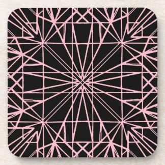 Black & Pale Pink Geometric Symmetry Coaster