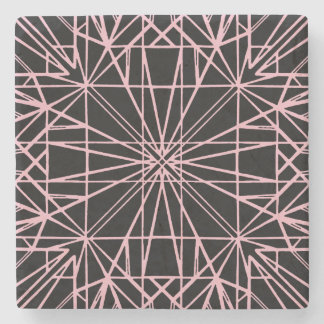 Black & Pale Pink Geometric Symmetry Stone Coaster