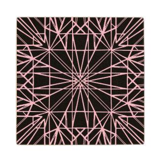 Black & Pale Pink Geometric Symmetry Wood Coaster