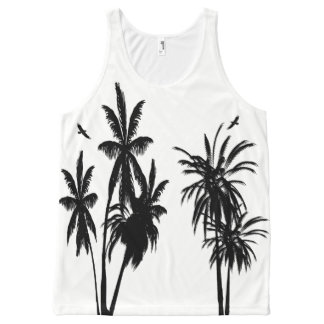 Black Palm Trees Circling Hawks White Retro Modern All-Over Print Singlet