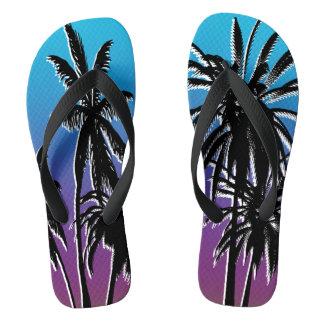 Black Palm Trees Purple Blue Fade Tahiti Retro Thongs