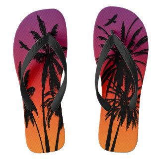 Black Palm Trees Purple Orange Tahiti Sunset Retro Thongs