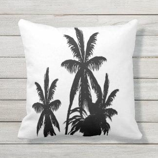 Black Palm Trees White Modern Summer Sunset Cushion