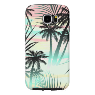 Black palms at sunset samsung galaxy s6 cases