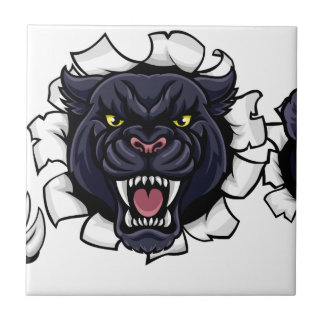 Black Panther Baseball Mascot Breaking Background Ceramic Tile