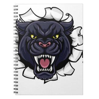 Black Panther Baseball Mascot Breaking Background Notebook