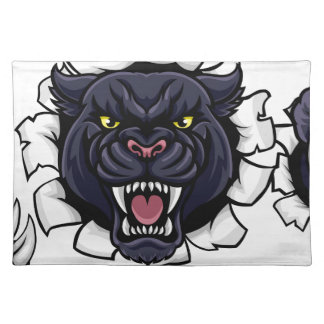 Black Panther Baseball Mascot Breaking Background Placemat