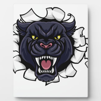 Black Panther Baseball Mascot Breaking Background Plaque