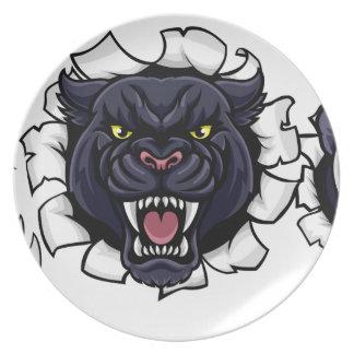 Black Panther Baseball Mascot Breaking Background Plate