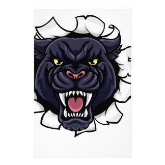 Black Panther Baseball Mascot Breaking Background Stationery