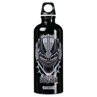 Black Panther   Black Panther Head Emblem Water Bottle