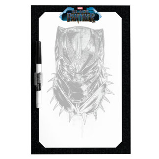 Black Panther | Black & White Head Sketch Dry Erase Board