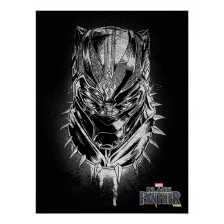 Black Panther | Black & White Head Sketch Poster