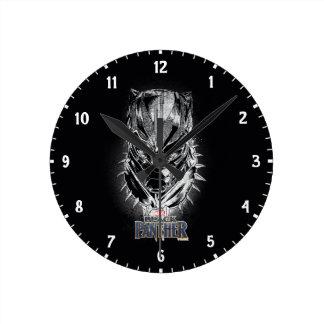 Black Panther | Black & White Head Sketch Round Clock