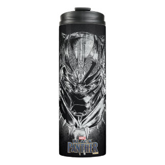 Black Panther | Black & White Head Sketch Thermal Tumbler