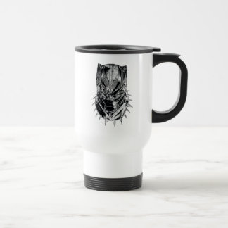 Black Panther | Black & White Head Sketch Travel Mug