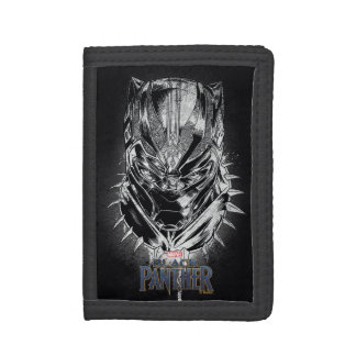 Black Panther | Black & White Head Sketch Trifold Wallets