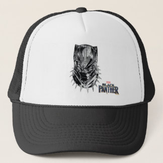 Black Panther | Black & White Head Sketch Trucker Hat