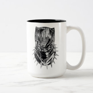 Black Panther | Black & White Head Sketch Two-Tone Coffee Mug